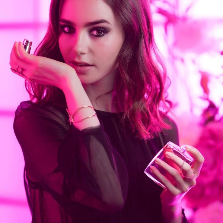 Lily Collins eau de beaux miracle secret lancome